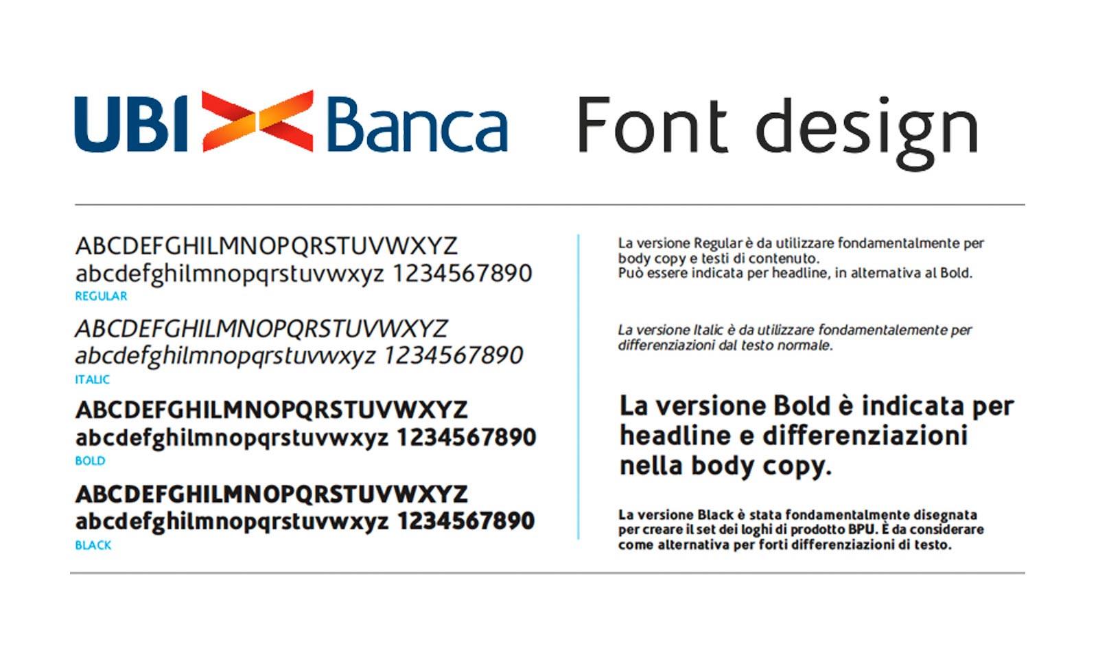 ubi banca brand rebranding font typeface design
