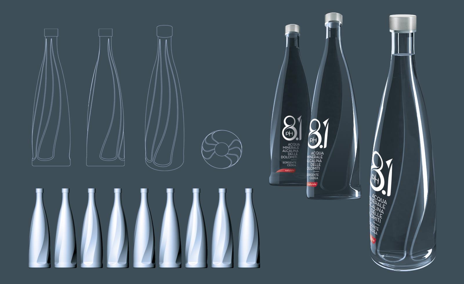 Cedea 8.1 glass bottle design bottiglia esclusiva in vetro